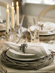 grey washed willow plate chargers and crisp white linen | Romantic Christmas dining table | Natural Calico