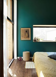 Teal colored walls with generous windows and brown curtains Popular Bedroom Paint Colors that Give You Positive Vibes Green Bedroom Design, Green Bedroom Walls, Green Walls, Bedroom Yellow, Emerald Bedroom, Green Bedrooms, Murs Turquoise, Turquoise Walls, Bedroom Turquoise