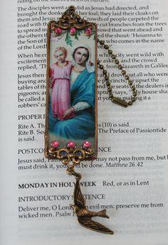 Prayer Card, Holy Card Glass Christmas Decoration
