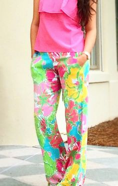 Lilly Pulitzer Cambridge Pants in Big Flirt with Ginny Silk Strapless Ruffled Tube Top