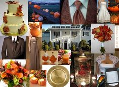 An October Bride's Inspiration! :) :  wedding chocolate brown fall wedding inspiration board leaves October orange pumpkins Inspiration Board | @SeasonedGinger |