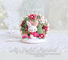Handcrafted Polymer Clay Christmas Bunny Scene