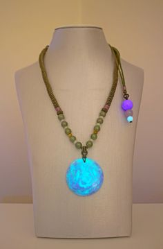 Yin Energy, Structured Water, Tesla Coil, Healing Light, Lymphatic System, Spiritual Awareness, Beaded Necklace, Crystals, Purple