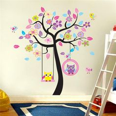 Cheap tree mural, Buy Quality owl wall sticker directly from China kids bedroom decor Suppliers: kawaii owls wall stickers kids bedroom decorations nursery cartoon children girls home decals animals tree mural arts