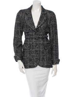 From the 2007 Fall Collection.  Heather grey Chanel blazer with button sleeve cuffs, flap pockets at sides, wide notch lapel, belt at waist and button closure at front.
