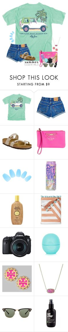 """~summer essentials!~"" by taybug2147 ❤ liked on Polyvore featuring Birkenstock, Kate Spade, Sun Bum, Serena & Lily, Eos, Tory Burch, Kendra Scott and Ray-Ban"
