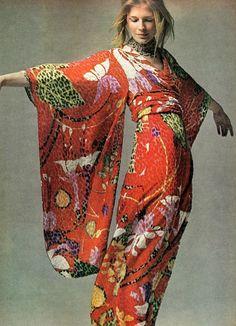 1970's Vogue vintage fashion color photo print ad models magazine designer 70s kimono dress bright red orange colorful print Asian long gown
