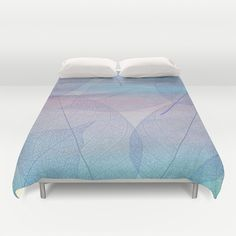 Painterly Pastel Leaves Abstract Duvet Cover by Judy Palkimas - $99.00