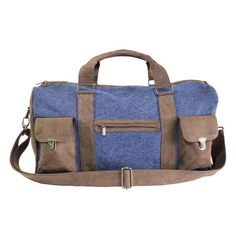 Blue Leather and Canvas Travel Bag ... we like it!