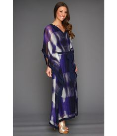 Halston Heritage Three-Quarter Sleeve Caftan Dress in Violet Illusion Stripe.