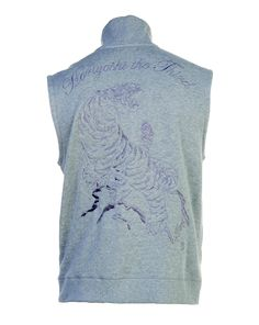 Men's Tiger on Rock Embroidery Mock Neck Zip-Up