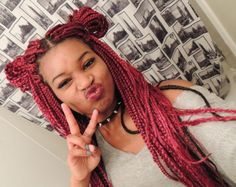 burgundy red braids