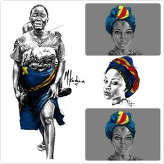 Une pensée pour la femme Congolaise et le peuple Congolais en ces temps troubles. / / I keep thinking about the Congolese woman and Congolese people.  I hope this blessed country will find peace soon! / Kimia ekota na mboka ya Kongo ! /  Repost de / from @KalatiFirst  Dessins de / pictures from @mkadimart  #appfrolution #congo #team243 #africa #ingeta #kimbangu #peace #afro #africanpride #africanqueen #africanart #blackartist #africanwarrior #congolese  #kinshasa #lingala