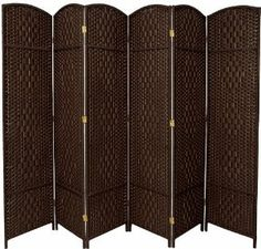 """Oriental Furniture 7-Feet Tall Diamond Weave Room Divider, Dark Mocha 6 Panel by ORIENTAL FURNITURE. $268.00. Extra tall extra wide panels, sturdy light weight wood frames, rattan style woven plant fiber. Browse our entire collection of top quality rattan style woven fiber room dividers on amazon.com. 82.75"""" by 19.25"""" panels, choose 3, 4 or 6 panels, choose from 7 earthtone color options. Great for rooms with high ceilings, providing a sense of quality and substance. ha..."""