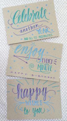 Lettering Lately > Hand lettered birthday cards Geburtstagskarte Lettering Brush, Lettering Design, Lettering Ideas, Calligraphy Letters, Typography Letters, Caligraphy, Letras Cool, Diy Broderie, Karten Diy