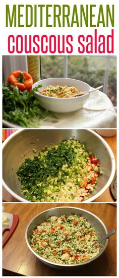 Healthy, Beautiful and Colorful Mediterranean Couscous Salad   It can also be made with leftover quinoa or brown rice. Great for summer BBQs or picnics!