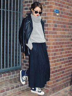 #fall maxi skirt +sweater