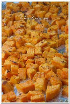 Roasted Parmesan Sweet Potatoes 2 large sweet potatoes, peeled, cubed 2 large cloves garlic, minced 2 tablespoons extra virgin olive oil 2-3 Tbsp Parmesan cheese, grated 1/2 teaspoon dried thyme Salt and Pepper to taste Bake 400 degrees for 40 then Broil 8-10 minutes until golden
