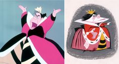 An early sketch of Alice in Wonderland's Queen of Hearts, and a final version of how her character appeared in the movie.
