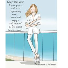 Know that your life is yours to love and to live today #encouragement #ocean #beach #fashion #illustration