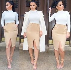 Spring Summer Fashion Outfit Nude Split Pencil Skirt Long Sleeve White Strappy High Heel Sandals Sexy Swag Style Trend Amrezy