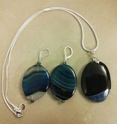 Blue agate pendant and earrings £12.00