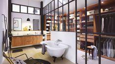 #Inspirationdujour Comment ne pas rêver de cette salle de bain, et surtout de ce magnifique dressing séparé par une verrière d'atelier ?! 😍👗👔🔨