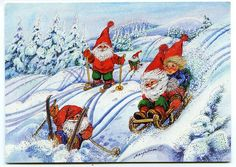 Find Skiing and sledgeing dwarfs, gnomes in Postcards, Greetings, Christmas category on Playle's. Illustrations And Posters, Christmas Art, Gnomes, Troll, Illustrators, Woodland, Scandinavian, Rooster, Visual Arts