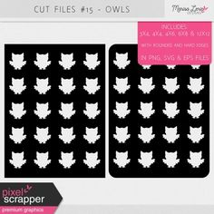 Cut Files Kit #15 - Owls Filing, Cutting Files, Digital Scrapbooking, Owls, Crafting, Kit, Products, Craft, Artesanato