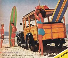 "Classic Surfing Culture showing the iconic ""Woody"" wagon"