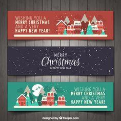 bannières de la ville de Noël mis Vecteur Premium