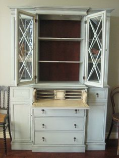 Painted Secretary Desk with Hutch | European Paint Finishes: Secretary Display Hutch ~