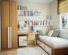 I like the day bed idea, and I really like the floating shelves.