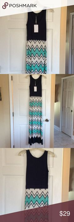 Maxi dress Boutique maxi dress brand new with tags! Navy turquoise and white 5th & Love Dresses Maxi