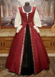 $325 Cavalier Lady Renaissance Ensemble. Bodice, overskirt, and underskirt.