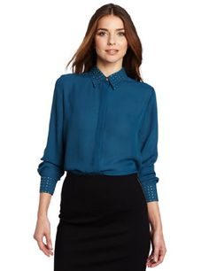 Vince Camuto Women's Embellished Collar and Cuff Button Down Blouse, Dark Teal, X-Large « Fashion! @ Sag0.com