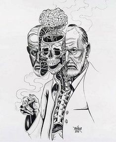 Nychos - Dissection of Sigmund Freud ink on paper, 24 x 19 in. Psychology Tattoo, Art Psychology, Art Noir, 4 Tattoo, Sigmund Freud, Collage Illustration, Anatomy Art, Anatomy Tattoo, Psychedelic Art