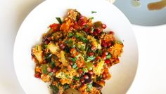 Quince, pumpkin, eggplant and quinoa salad