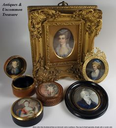 A wonderful grouping of Georgian/Napoleon era miniature paintings, portraits and snuff boxes. Collect!  Photo credit: Antiques & Uncommon Treasure