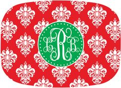 Christmas Monogrammed Personalized Melamine Platter by @Julia Richey Wasabi Ink