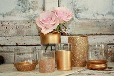 Rosa gold Hochzeit Dekor Set von 6 Gold getaucht von thepaisleymoon