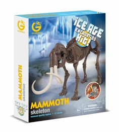 """Geo world-Ice Age Excavation Kit – Mammoth Skeleton  """"This is the line dedicated to the bravest paleontologists, continuously looking for fossils suspended in the ice. The models are developed with the supervision of a paleontologist, in order to guarantee detailed replicas of the original animals. With hammer and chisel it will be easy to bring to light the skeletons, and assemble the animals following the step by step instructions. In each park, there is the description of each animal, to…"""