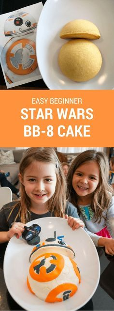 How to make an easy Star Wars BB-8 birthday cake for a Star Wars birthday party. Just print my free BB-8 pattern and follow the easy steps. Great for beginners! #starwars #bb8 #cake #party