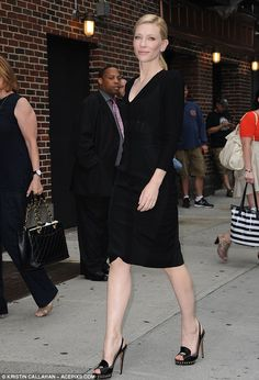 Sleek: For her Letterman taping in New York City on Monday Cate wore this slim fitting black dress