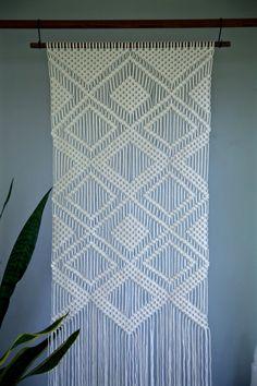 Macramé grande Tenture murale  corde de coton blanc naturel