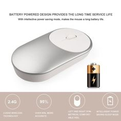 USB Wireless Mouse Bluetooth Mute Click Noiseless Optical Mouse 3 Bottons HA