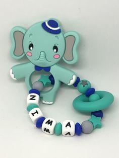 Personalisierter Beissring Elefant Mint Smurfs, Card Stock, Rings