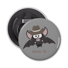 Austin, Texas - Cowboy bat Button Bottle Opener