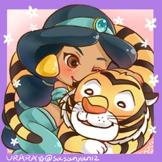 Jasmine and Rajah - Aladdin Kawaii Disney, Cute Disney, Disney Dream, Walt Disney, Disney Magic, Disney Couples, Disney Artwork, Disney Fan Art, Princesa Disney Aurora