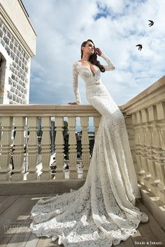 shabi and israel wedding dresses 2015 deep v neck lace long sleeves white sheath dress bridal gown